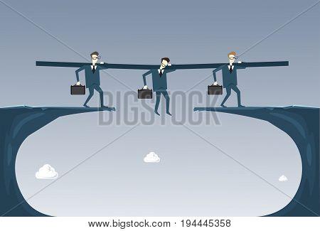 Business People Group Hold Businessman Hanging Over Cliff Partner Support Businesspeople Risk Concept Flat Vector Illustration