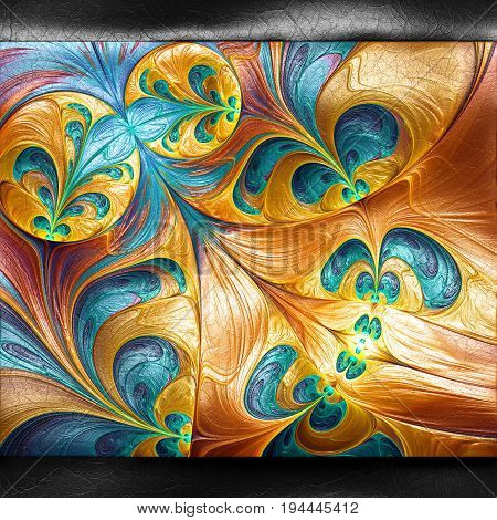 3D rendering of plastic background with embossed abstract bubbles fractal on leather