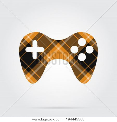 orange black isolated tartan icon with white stripes - gamepad and shadow in front of a gray background