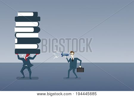 Businessman Boss Screaming With Megaphone On Worker Folding Stack Of Book Business Education Concept Flat Vector Illustration