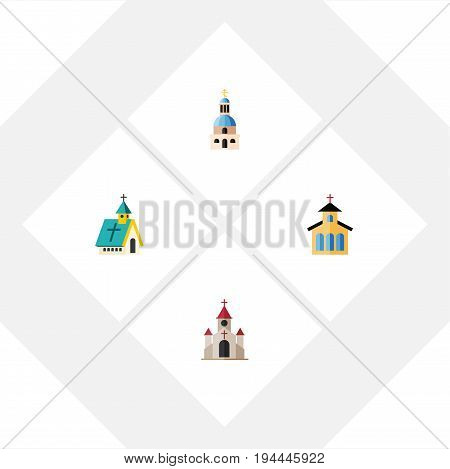 Flat Icon Church Set Of Catholic, Church, Traditional And Other Vector Objects. Also Includes Architecture, Building, Catholic Elements.