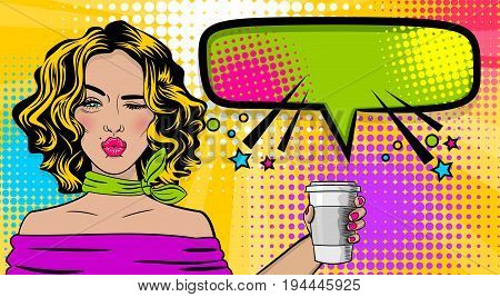 Beautiful sexy girl blonde hair, wink wow face kissing mouth in style pop art hold coffee mug mock up. Comic book retro texture halftone background. Vector illustration. Comic text speech bubble.