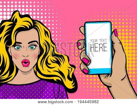 Beautiful sexy girl long blonde hair, wow face open mouth in style pop art hold look smart phone mock up display. Comic book retro halftone background. Vector illustration. Comic text speech bubble.
