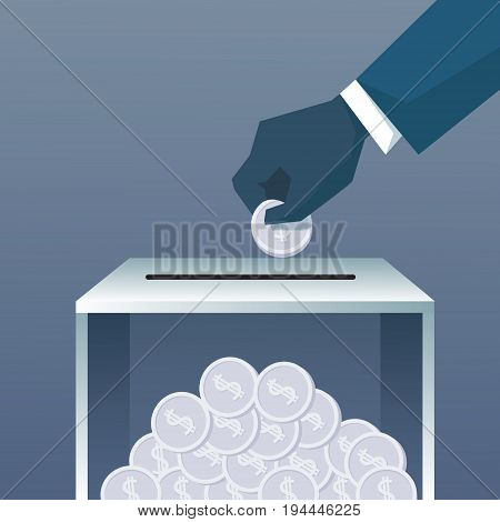 Hand Putting Coin In Donate Box For Charity Contribution Flat Vector Illustration