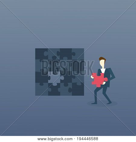 Business Man Solve Puzzle Solution Strategy Concept Flat Vector Illustration