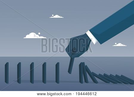 Business Man Hand Chart Bar Falling Economic Fail Crisis Concept Flat Vector Illustration