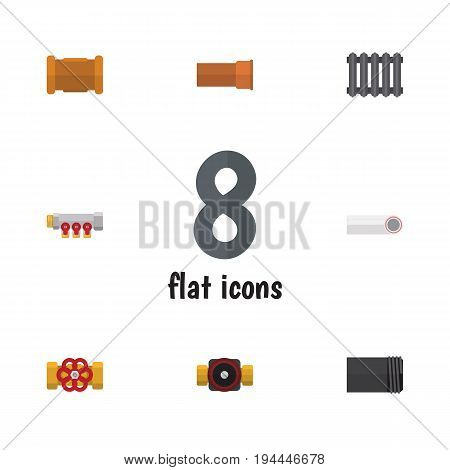 Flat Icon Sanitary Set Of Pipework, Tube, Cast And Other Vector Objects. Also Includes Radiator, Water, Flange Elements.