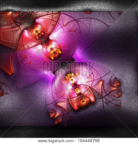 3D rendering of plastic background with embossed red molecules fractal on leather