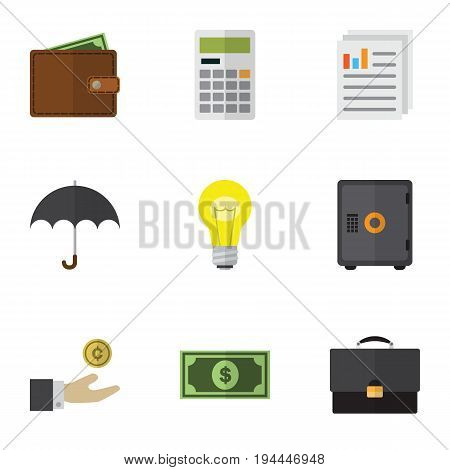 Flat Icon Gain Set Of Greenback, Strongbox, Portfolio And Other Vector Objects. Also Includes Billfold, Beach, Bank Elements.