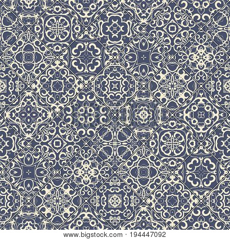 Blue abstract patterns in the mosaic set. Square scraps in oriental style. Vector illustration. Ideal for printing on fabric or paper.