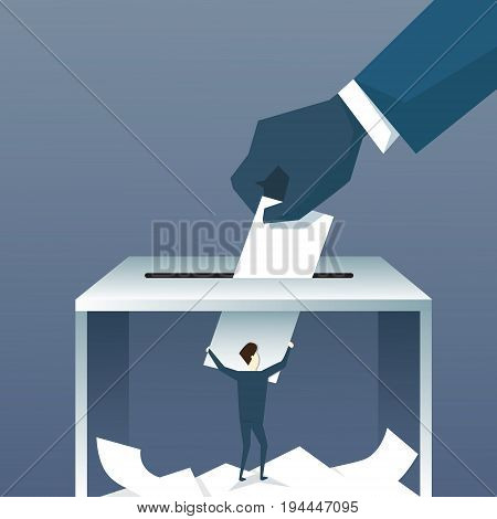Hand Putting Paper In Ballot Box During Voting Flat Vector Illustration