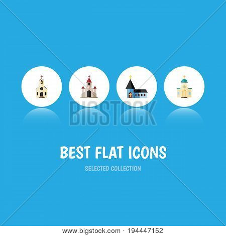 Flat Icon Church Set Of Christian, Building, Religious And Other Vector Objects. Also Includes Structure, Religious, Traditional Elements.