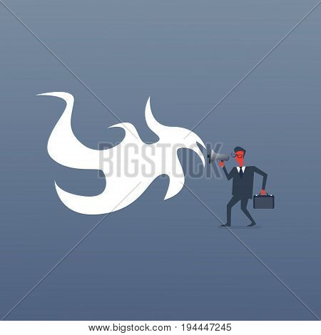 Angry Boss Business Man Screaming In Megaphone Red Annoyed Businessman Flat Vector Illustration