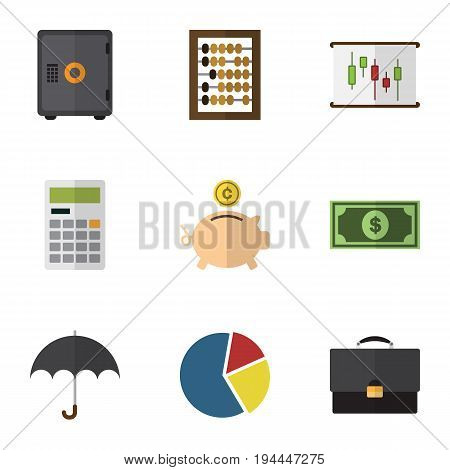 Flat Icon Gain Set Of Graph, Diagram, Parasol And Other Vector Objects. Also Includes Abacus, Calculate, Dollar Elements.