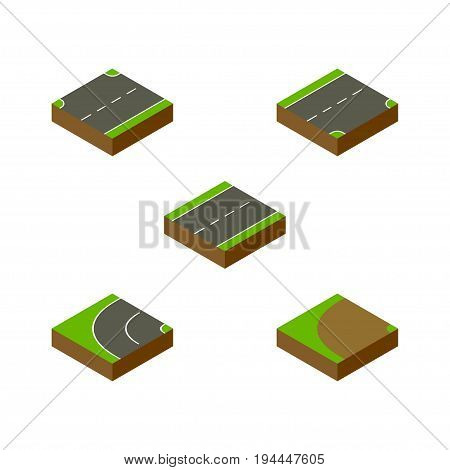 Isometric Way Set Of Driveway, Turning, Down And Other Vector Objects. Also Includes Down, Turning, Downward Elements.