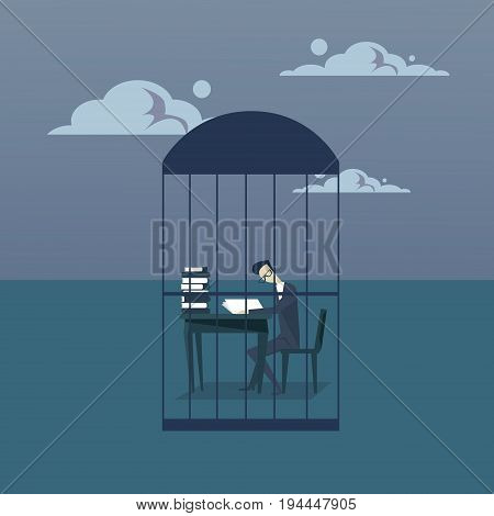 Business Man Busy With Paperwork In Cage Study Heap Of Documents Overworked Tired Businessman Sitting At Office Desk Working Flat Vector Illustration