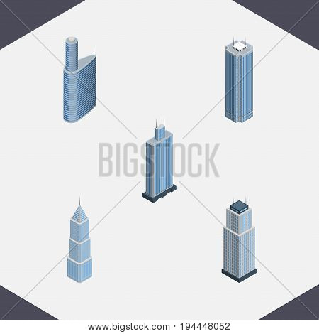 Isometric Building Set Of Skyscraper, Exterior, Tower And Other Vector Objects. Also Includes Building, Exterior, Center Elements.
