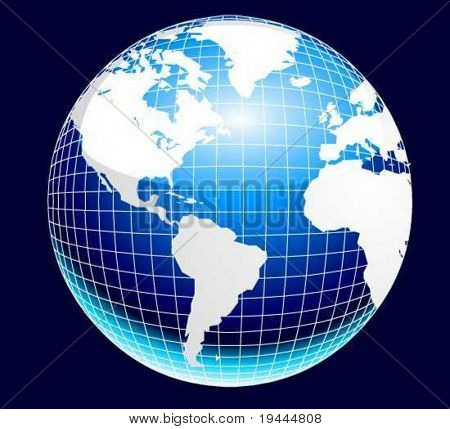Planet Earth with mesh in Vector Art
