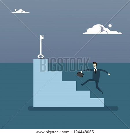 Businessman Climb Stairs Up To Key Business Man Growth New Successful Idea Concept Vector Illustration
