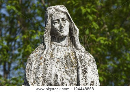 Statue of Virgin Mary as a symbol of love and kindness (ancient statue)