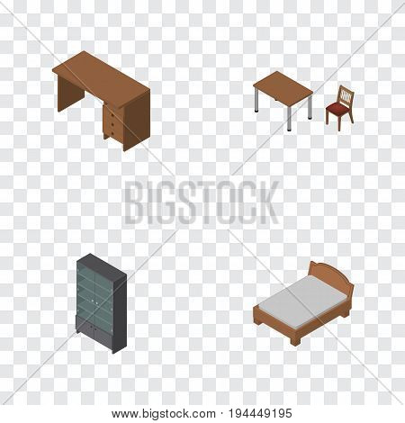 Isometric Furnishing Set Of Table, Bedstead, Chair And Other Vector Objects. Also Includes Drawer, Bed, Table Elements.