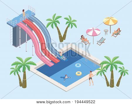 People in aqua park, relax at the pool. Swimming pool and water slides. Beach umbrellas, palm trees and tables with sun loungers. Vector isometric illustration.