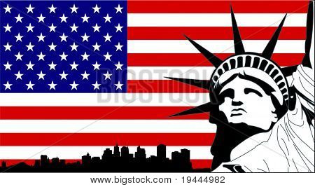 Statue of Liberty on the USA Flag with New York silhouette