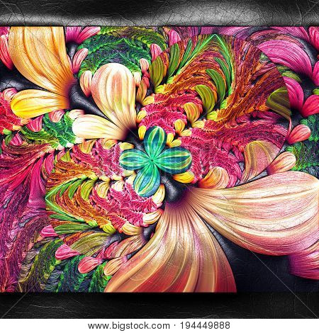 3D rendering of plastic background with embossed flower ears fractal on leather