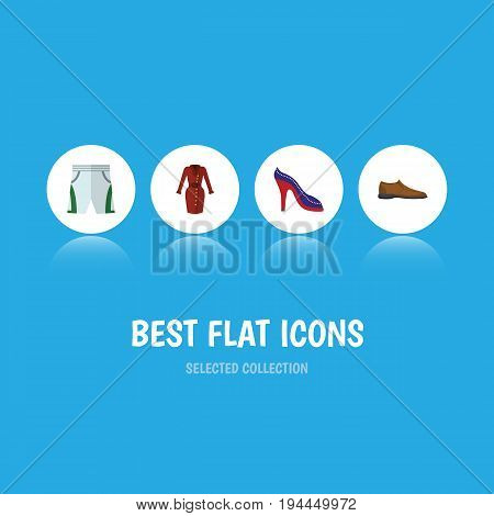Flat Icon Dress Set Of Clothes, Male Footware, Trunks Cloth And Other Vector Objects. Also Includes Shorts, Sandal, Trunks Elements.