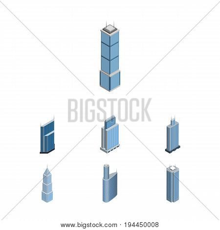 Isometric Building Set Of Skyscraper, Business Center, Exterior And Other Vector Objects. Also Includes Skyscraper, Building, Tower Elements.