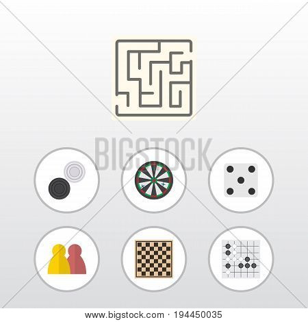 Flat Icon Play Set Of Backgammon, People, Labyrinth And Other Vector Objects. Also Includes Alphago, Chess, Labyrinth Elements.
