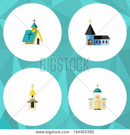 Flat Icon Christian Set Of Structure, Architecture, Religious And Other Vector Objects. Also Includes Structure, Religious, Christian Elements.