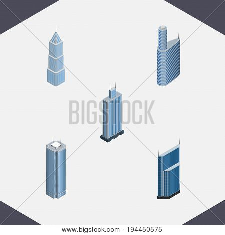 Isometric Construction Set Of Skyscraper, Residential, Exterior And Other Vector Objects. Also Includes Skyscraper, Urban, Building Elements.