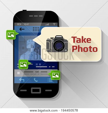 Smartphone with message bubble about photographing. Dialog box pop up over screen of phone. Best vector image about smartphone photography mobile technology notification application prompting etc