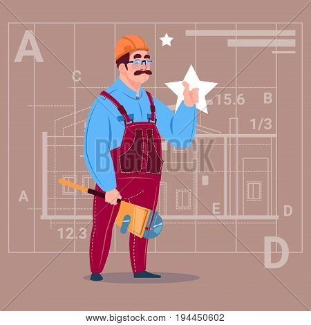 Cartoon Builder Wearing Uniform And Helmet Construction Worker Over Abstract Plan Background Male Workman Flat Vector Illustration