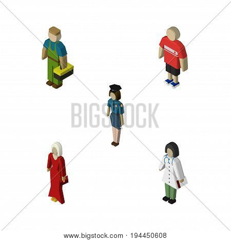 Isometric Human Set Of Policewoman, Female, Guy And Other Vector Objects. Also Includes Policewoman, Guy, Man Elements.