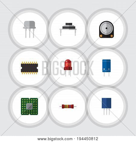 Flat Icon Technology Set Of Transistor, Hdd, Recipient And Other Vector Objects. Also Includes Destination, Transistor, Processor Elements.