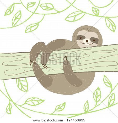 Cute sloth climbs a tree on white isolated background. Vector illustration in cartoon style