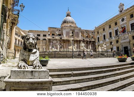 Palermo.Italy.May 26 2017.The view of the fountain in Piazza Pretoria in Palermo . Sicily