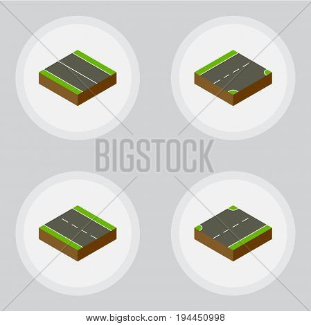 Isometric Way Set Of Down, Upwards, Flat And Other Vector Objects. Also Includes Driveway, Lane, Up Elements.