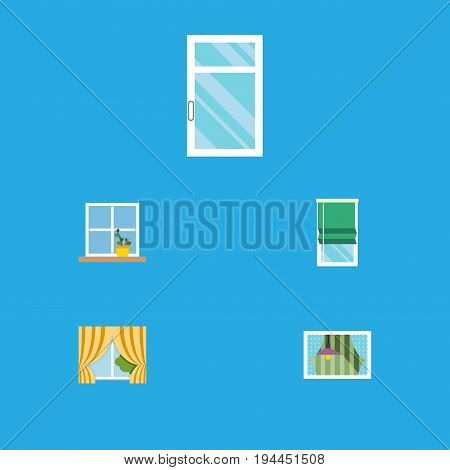 Flat Icon Glass Set Of Clean, Balcony, Glass Frame And Other Vector Objects. Also Includes Frame, Glass, Flower Elements.