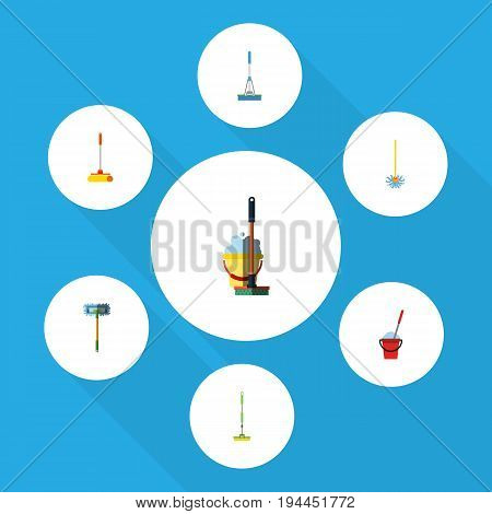 Flat Icon Mop Set Of Bucket, Besom, Mop And Other Vector Objects. Also Includes Mop, Bucket, Cleaning Elements.