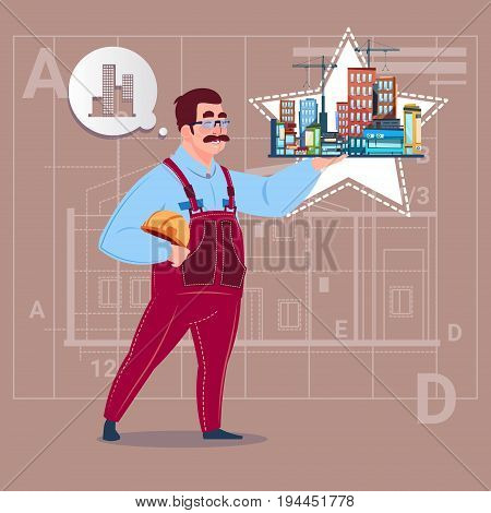 Cartoon Builder Holding Small House Ready Real Estate Over Abstract Plan Background Male Workman Flat Vector Illustration