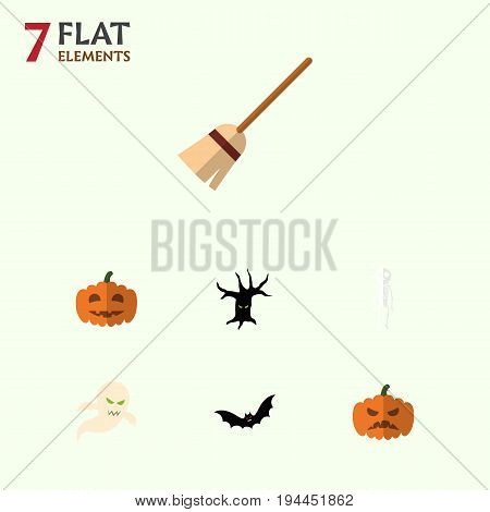 Flat Icon Halloween Set Of Broom, Skeleton, Ghost And Other Vector Objects. Also Includes Broomstick, Witch, Bat Elements.