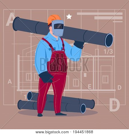 Cartoon Builder Wearing Welding Mask Hold Piping Construction Worker Over Abstract Plan Background Male Workman Flat Vector Illustration