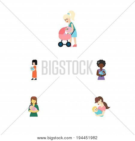Flat Icon Parent Set Of Woman, Mam, Child And Other Vector Objects. Also Includes Child, Kid, Perambulator Elements.