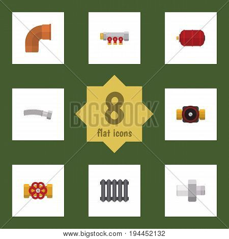 Flat Icon Industry Set Of Pipework, Iron, Tap And Other Vector Objects. Also Includes Faucet, Pump, Heater Elements.