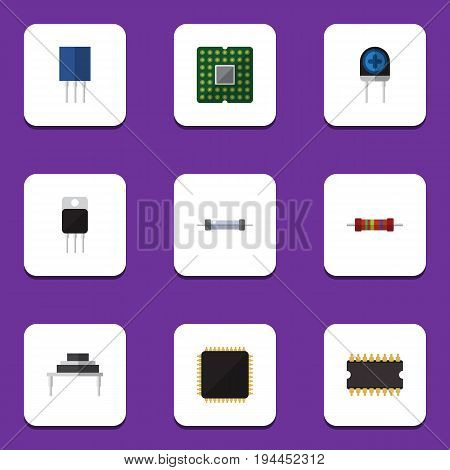 Flat Icon Electronics Set Of Transducer, Unit, Cpu And Other Vector Objects. Also Includes Resistor, Processor, Resistance Elements.