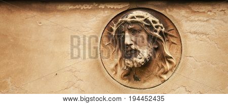 antique statue Jesus Christ as a symbol of love faith and religion.