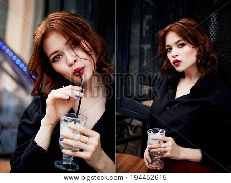 Beautiful red-haired tone pink rhinestone enamel puffy . Medium length hair.Ginger. drinking coffee from a straw